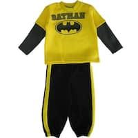 DC Comics Little Boys Yellow Black Batman Logo Sweater 2 Pc Pant Set