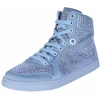 Gucci Women's Coda Blue Satin Effect Crystal Stud High Top Sneakers