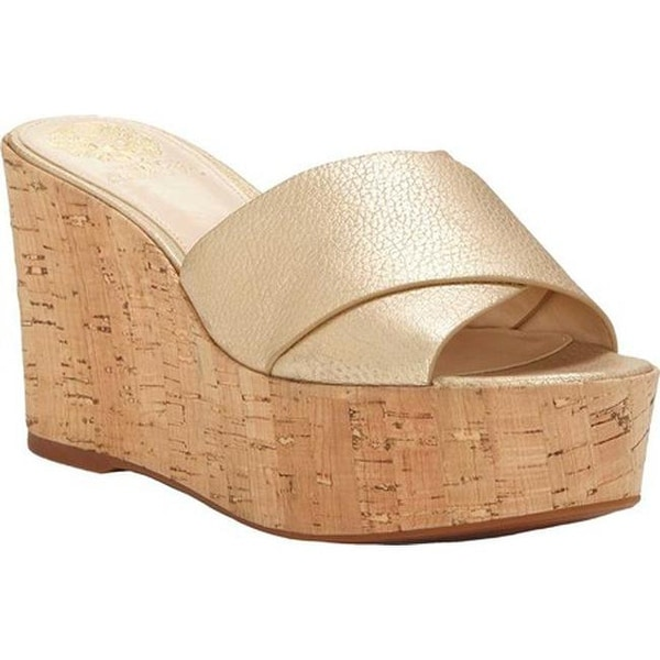 eda27c78fdb Vince Camuto Women  x27 s Kessina Wedge Sandal Metal Gold Andorra Leather