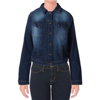 Guess Womens Denim Jacket Faded Long Sleeve - l