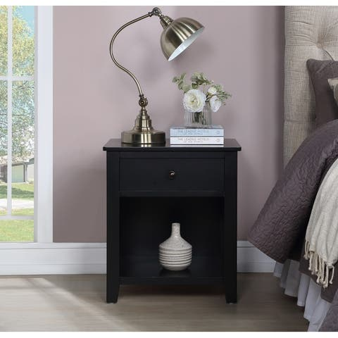 1 Drawer Nightstand Solid Wood, Traditional Design