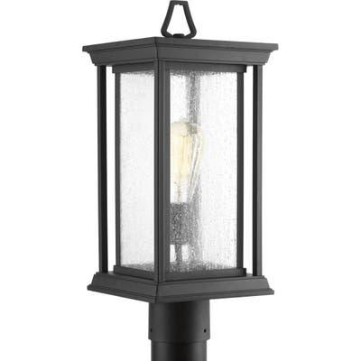 "Endicott 1-Light Black Craftsman Outdoor Post Lantern Light - 19.000"" x 10.250"" x 10.370"""