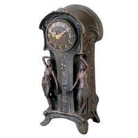 Design Toscano Dual Maiden Art Nouveau Mantelpiece Clock