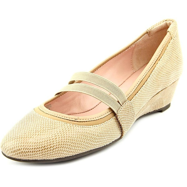 Taryn Rose Pylon Women Open Toe Leather Tan Wedge Heel
