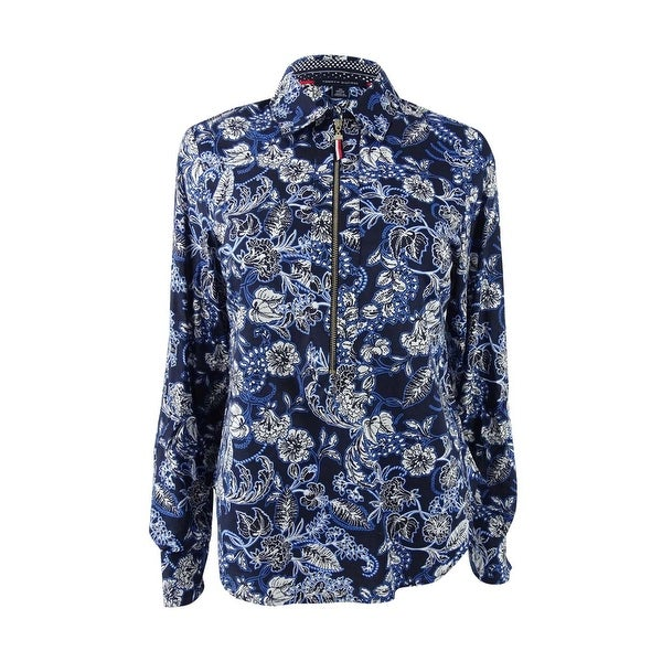 127aa6445b Shop Tommy Hilfiger Women's Cotton Printed Zip-Front Shirt - Coral Floral -  On Sale - Free Shipping On Orders Over $45 - Overstock - 23600817