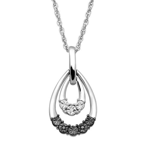 Teardrop Swing Pendant with Black & White Diamonds in Sterling Silver