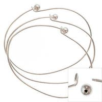 Silver Plated Wire Beading Bracelet With Ball - Add A Bead (36 Bracelets)