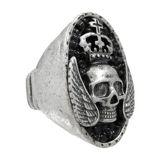 Large Pewter & Black Bead Winged Skull Stretch Ring