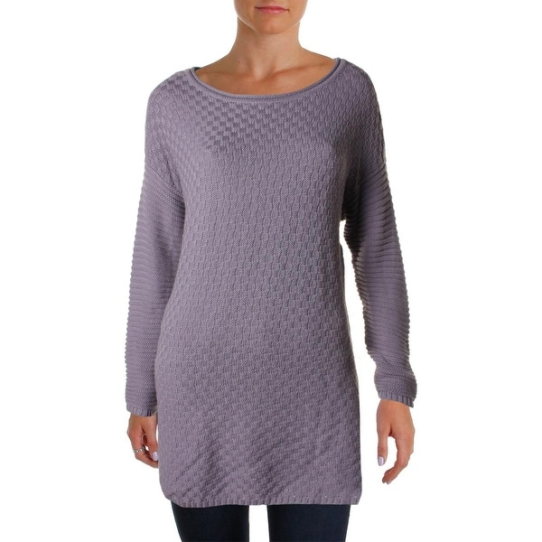 Vince Camuto Womens Tunic Sweater Hi-Low Hem Checkered