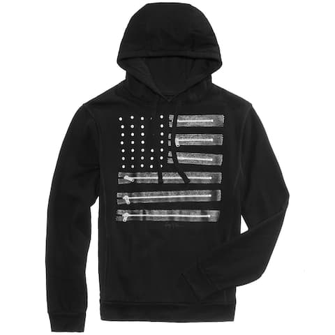 Ring of Fire Mens Sweater Black Size Large L Flag Faux Zipper Hooded