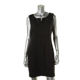 Calvin Klein Womens Petites Textured Split Neck Cocktail Dress - 12P