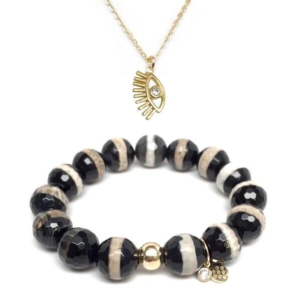 """Black & White Agate 7"""" Bracelet & CZ Lucky Eye Gold Charm Necklace Set"""