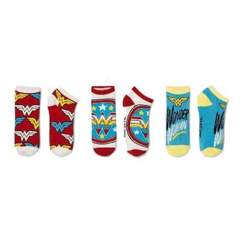HYP Comics DC Wonder Woman Ankle Socks 3-Pack Shoe Size 4-10 - Shoe Size 4-10