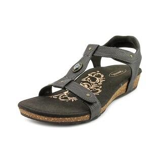 Aetrex Lori Women Open-Toe Leather Black Slingback Sandal