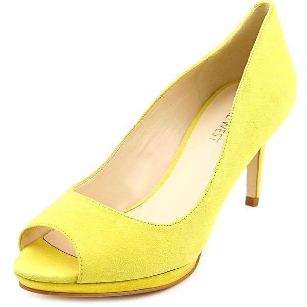 Nine West Gelabelle Women Peep-Toe Suede Yellow Heels