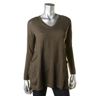 Eileen Fisher Womens Petites V-Neck Sweater Wool V-Neck