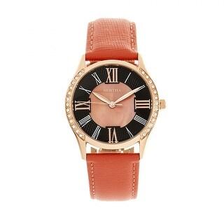 Bertha Sadie Leather-Band Watch - Coral