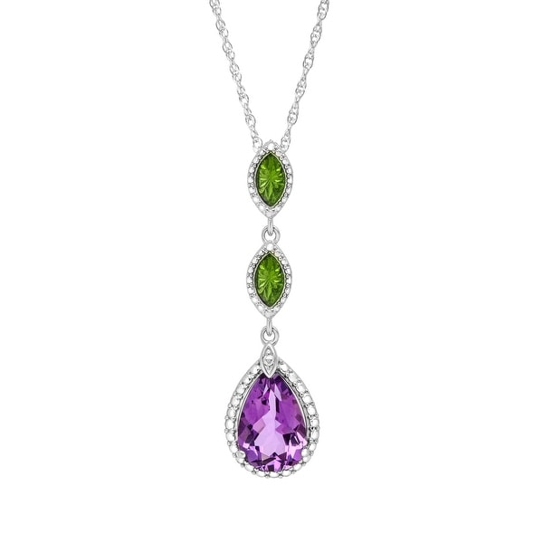 2 3/4 ct Amethyst Drop Pendant in Sterling Silver