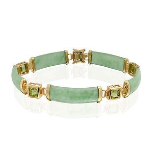 Bling Jewelry 925 Silver Dyed White Jade Peridot Fortune Bracelet Gold Plated