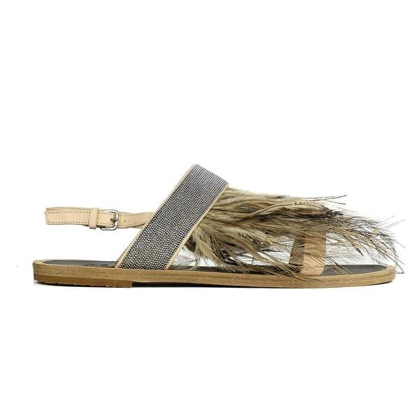 24a62502a91 Brunello Cucinelli Womens Nude Monilli Feather Flat Sandals 37 7 RTL 1200