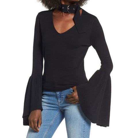 Leith Black Womens Size Large L V-Neck Choker Bell-Sleeve Sweater