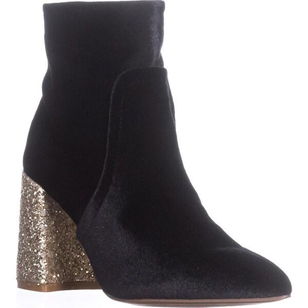 Betsey Johnson Kacey Glitter Heels Booties, Black Velvet - 6.5 us