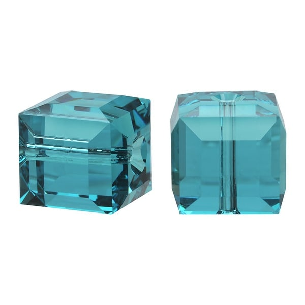 Swarovski Elements Crystal, 5601 Cube Beads 8mm, 4 Pieces, Indicolite