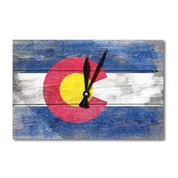 Rustic Colorado State Flag - LP Artwork (Acrylic Wall Clock) - acrylic wall clock
