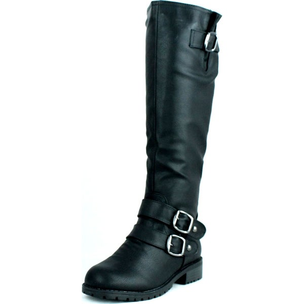 Dbdk Womens Dilliane-9 Buckle Embellished Round-Toe Riding Boots
