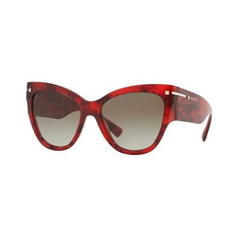 Valentino VA4028 50208E 55 Havana Red Woman Cat Eye Sunglasses