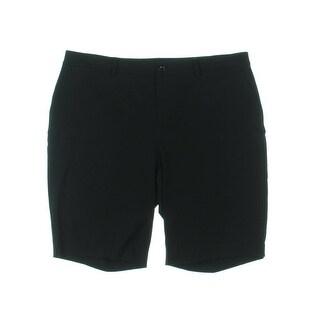 Lauren Ralph Lauren Womens Plus Bermuda Shorts Twill Flat Front - Black - 16W