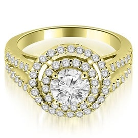 1.15 cttw. 14K Yellow Gold Double Halo Round Cut Diamond Engagement Ring