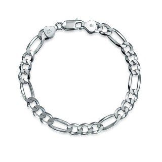 Bling Jewelry Mens Silver Heavy Figaro Chain Link Bracelet 180 Gauge Italy
