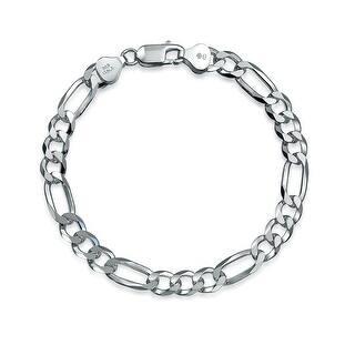 Bling Jewelry Mens Silver Heavy Figaro Chain Link Bracelet 180 Gauge Italy