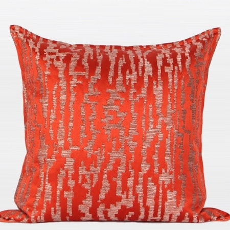 """G Home Collection Luxury Tangerine Nonobjective Pattern Jacquard Pillow 22""""X22"""""""