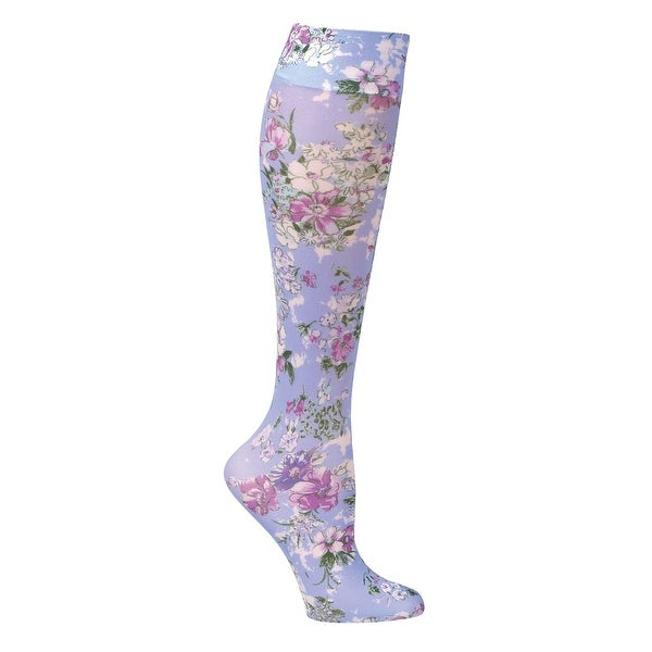 JET PARENT - Printed Moderate Compression Knee Highs - Periwinkle Bouquet - Medium