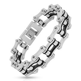 Motorcycle Chain with Black Inner Plate Link 316L Stainless Steel Biker Bracelet (19.9 mm) - 9 in