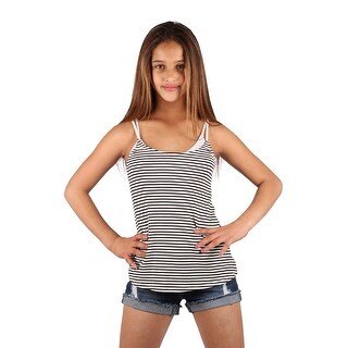 Lori & Jane Girls Black White Stripe Open Back Tank Top