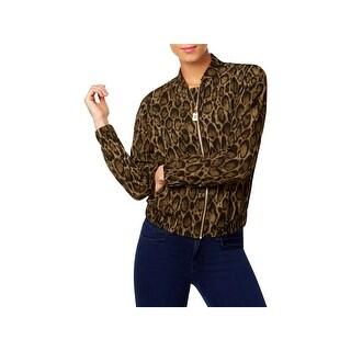 MICHAEL Michael Kors Womens Bomber Jacket Snake Print Long Sleeves - l