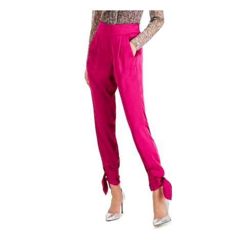 INC Womens Pink Tie Skinny Party Pants Size 14
