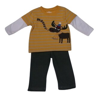 American Character Baby Boys Olive Moose Applique Top 2 Pc Pants Set