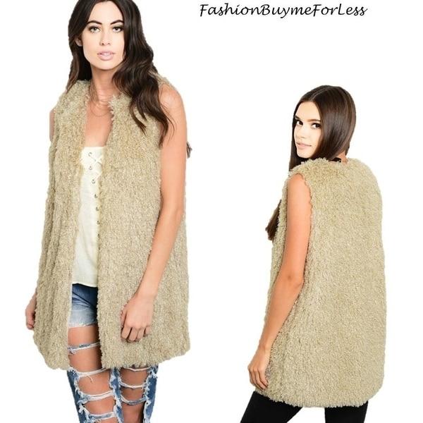 87feb1ff6e4d8 Shop BOHO Hippie Cream Faux Lamb Shearling Sherpa Haute Long Vest Jacket  Coat S M L - Free Shipping Today - Overstock - 25857690