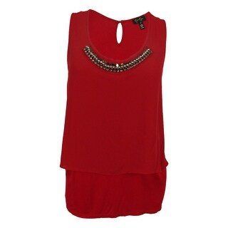 Jessica Simpson Women's Embellished Sleeveless Tiered Top - Garnet - 2x