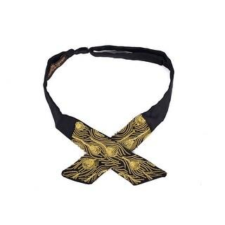 Roberto Cavalli's Mens Black Cotton Gold Lurex Embroidered Bowtie