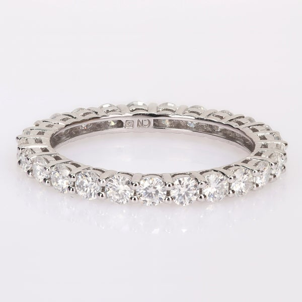Miadora 1 1/2ct DEW Moissanite Stackable Full-Eternity Band Ring in 10k White Gold. Opens flyout.