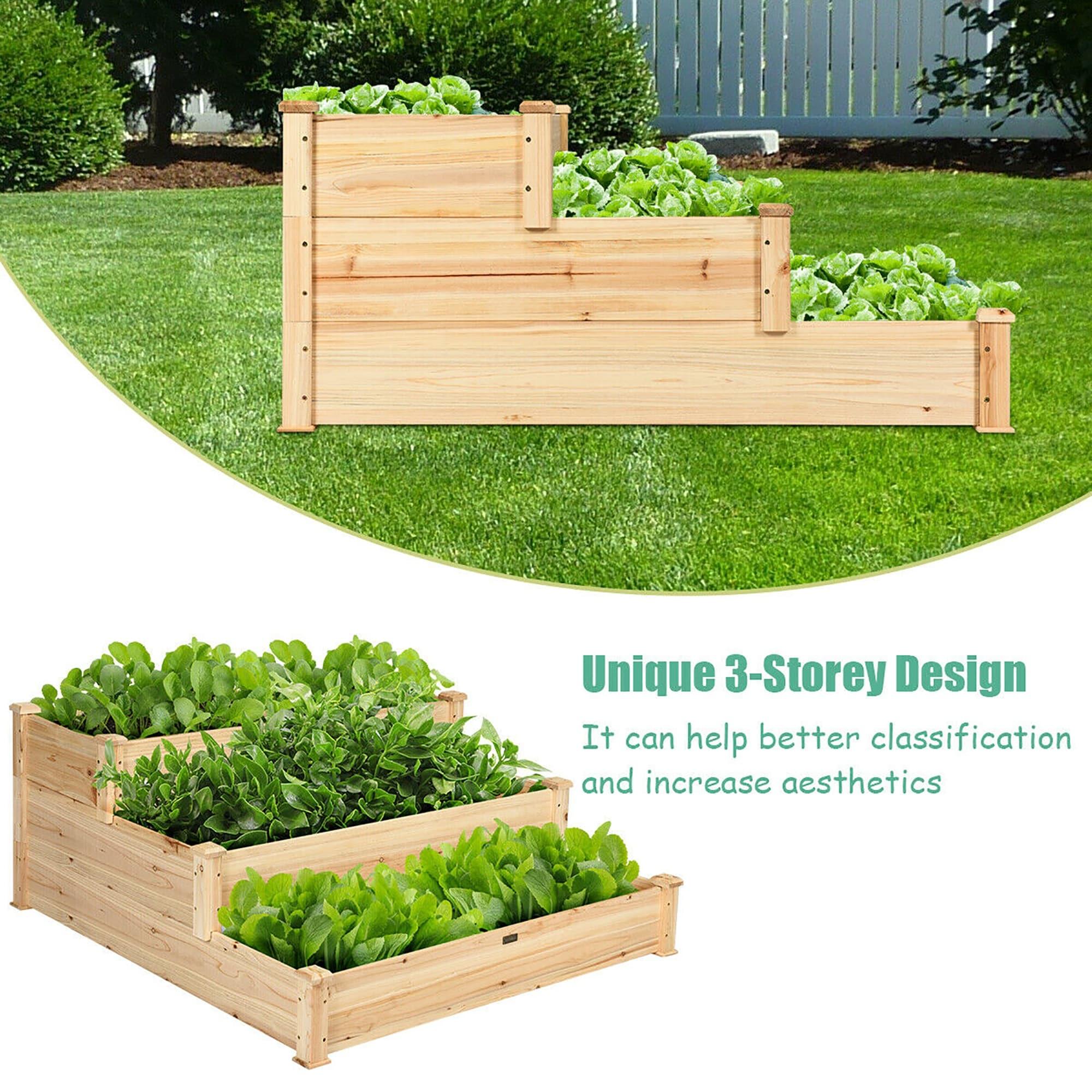 Costway 3 Tier Wooden Raised Vegetable Garden Bed Elevated Planter Kit Overstock 15982861