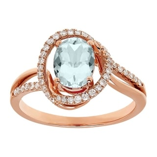 1 1/10 ct Natural Aquamarine & 1/5 ct Diamond Swirl Ring in 14K Rose Gold - Blue