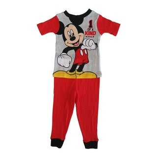 Disney Little Toddler Boys Red Mickey Mouse Cotton Short Sleeve 2 Pc Pajama
