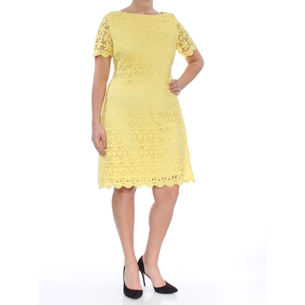 f1a12c75609ee JESSICA HOWARD Womens Yellow Lace Short Sleeve Jewel Neck Above The Knee  Sheath Party Dress Size: 14