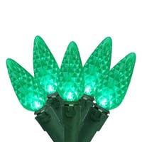 Set of 50 Faceted Green LED C6 Christmas Lights - Green Wire